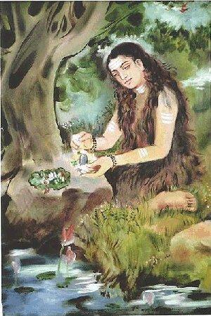 Akka Mahadevi worshipping Shiva's  'lingam' [= penis]