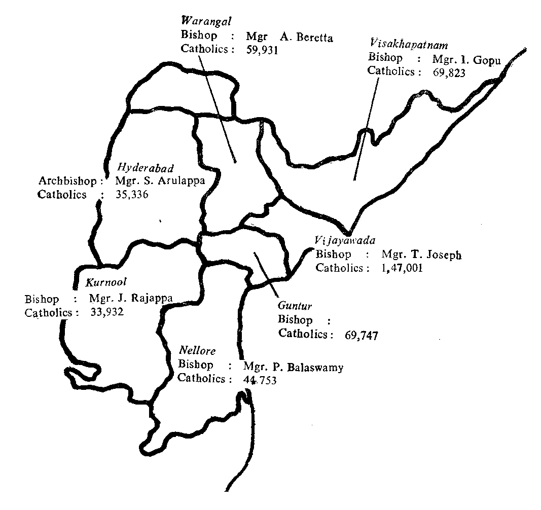 Map of the seven Catholic dioceses of  Andhra Pradesh (1975).