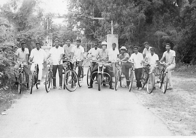 On my motorbike surrounded by a group of students. 1971.